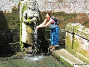 Splashing my face at the ancient water fountain