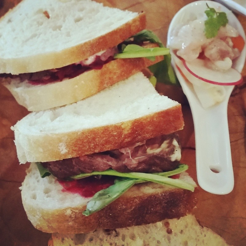 Kangaroo rump sandwich with beetroot relish and seeded mayonnaise