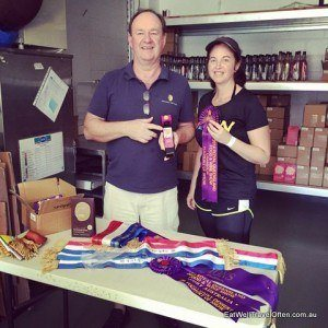 Peter from Nicholson's Fine Foods shows me his prize winning ribbons