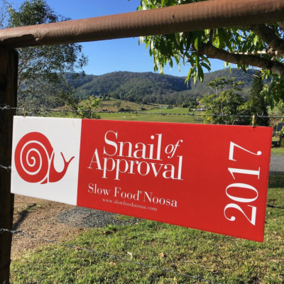 Snail of Approval sign on farm gate