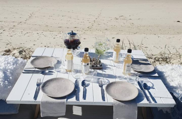 An elegant picnic on the beach