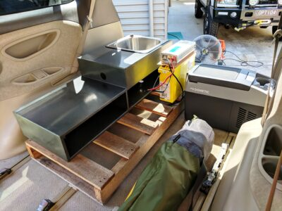 Making sure everything fits by testing layout of main items inside the van